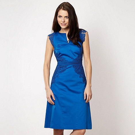 Marios Schwab/EDITION - Designer bright blue lace panelled dress