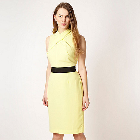 Roksanda Ilincic/EDITION - Designer bright yellow cross neck dress - size 18