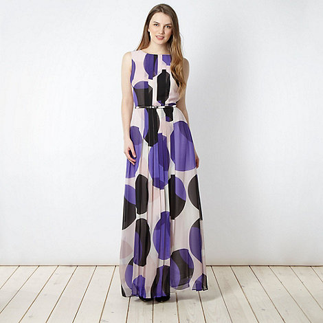 jonathan-saunders-edition - Designer purple belted spot maxi dress