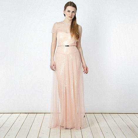 Marios Schwab/EDITION - Designer pale pink sequin maxi dress