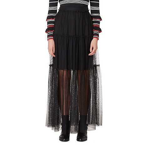 Studio by Preen - Black mesh maxi skirt