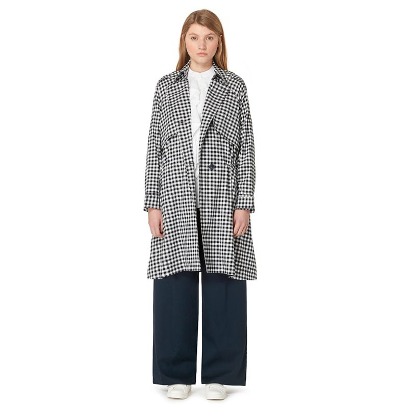 Studio by Preen Navy gingham print trench coat