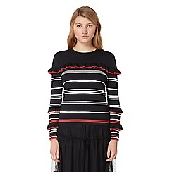 Studio by Preen - Navy striped print frilled jumper