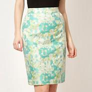 Designer light green jacquard fluorescent skirt