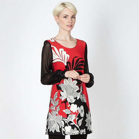 Star by Julien Macdonald - Designer red floral embellished sleeve tunic