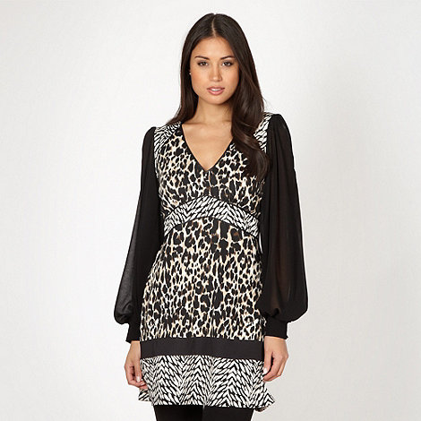 Star by Julien Macdonald - Designer black mixed animal print tunic