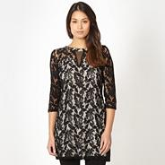 Designer black lace keyhole tunic top
