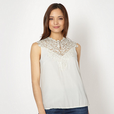 Star by Julien Macdonald - Designer cream lace trimmed bubble hem top