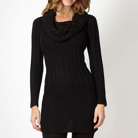 Star by Julien Macdonald - Designer black eyelash cowl neck tunic