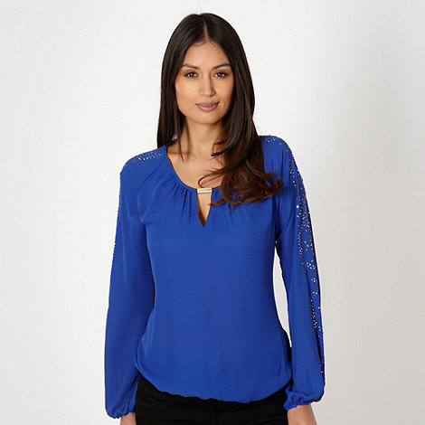 Star by Julien Macdonald - Designer royal blue studded sleeve top