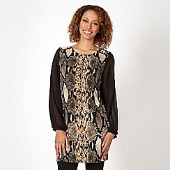 Star by Julien Macdonald - Designer black zipped shoulder snakeskin tunic