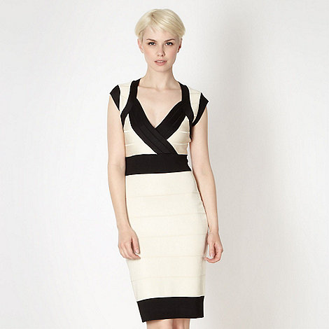Star by Julien Macdonald - Designer ivory colour block textured dress
