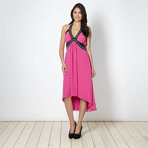 Star by Julien Macdonald - Designer pink beaded halter cocktail dress