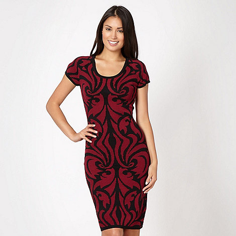 Star by Julien Macdonald - Designer dark red jacquard cocktail dress