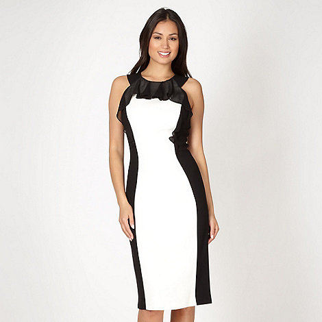 Star by Julien Macdonald - Designer white frill colour block cocktail dress