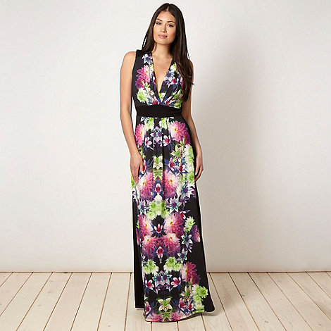 Star by Julien Macdonald - Designer black graphic flower maxi dress