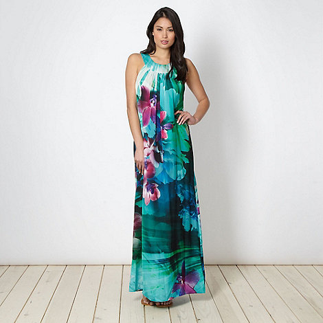 Star by Julien Macdonald - Designer green floral satin maxi dress