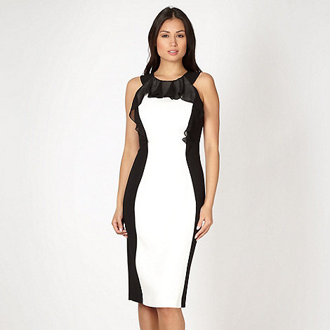 Star by Julien Macdonald - Designer white frill colour block cocktail dress