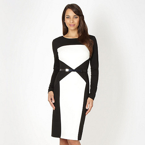 Star by Julien Macdonald - Designer black colour block cocktail dress