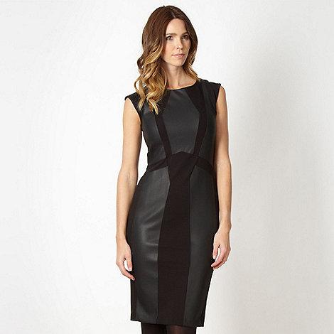 Star by Julien Macdonald - Designer black faux leather panelled dress