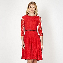 Star by Julien MacDonald - Designer red lace fit and flare cocktail dress