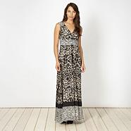 Designer black mixed animal print maxi dress