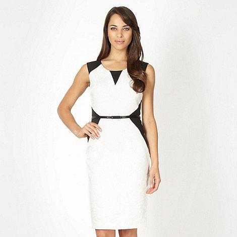 Star by Julien Macdonald - Designer white textured damask cocktail dress