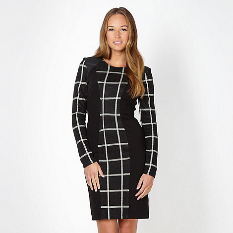 Star by Julien Macdonald - Designer black check panelled dress