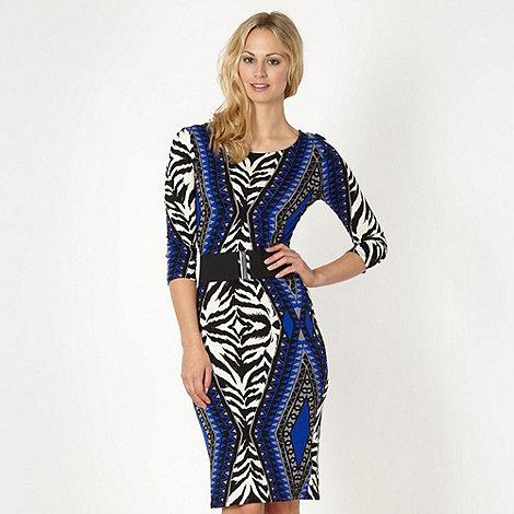 Star by Julien Macdonald - Designer royal blue zebra aztec dress