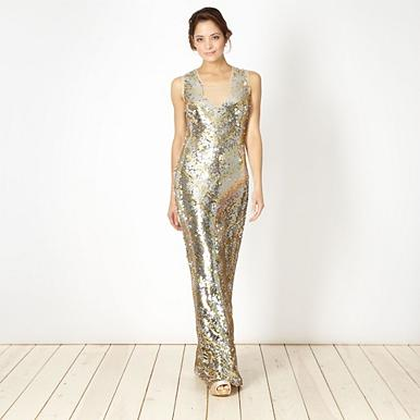 Designer gold sequin maxi dress