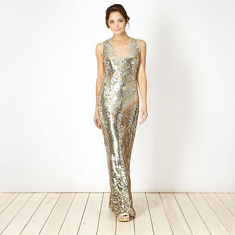 Star by Julien Macdonald - Designer gold sequin maxi dress