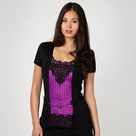 Star by Julien Macdonald - Designer purple satin lace 2 in 1 top