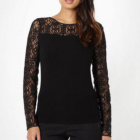 Star by Julien Macdonald - Designer black lace sleeve jumper