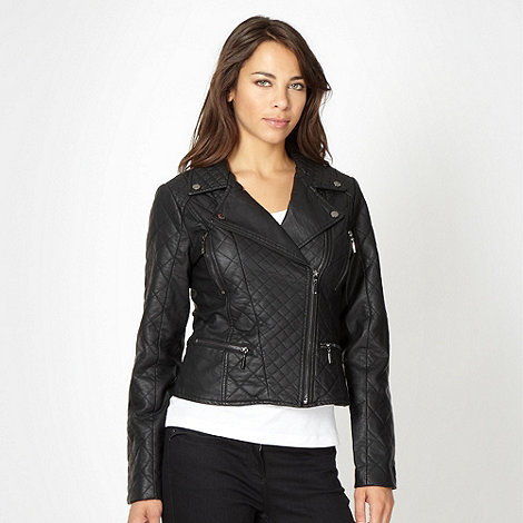 Star by Julien Macdonald - Designer black quilted biker jacket