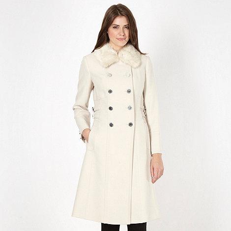 Star by Julien Macdonald - Designer cream faux fur collar military coat