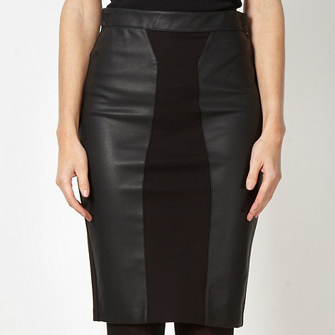 Star by Julien Macdonald - Designer black faux leather panelled skirt