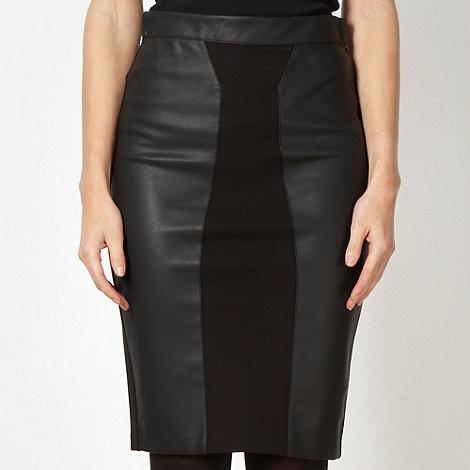 Star by Julien Macdonald - Designer black faux leather panelled skirt