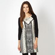 Designer black geo print panel tunic