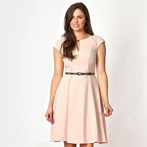 Star by Julien Macdonald - Designer pale pink belted fit and flare dress