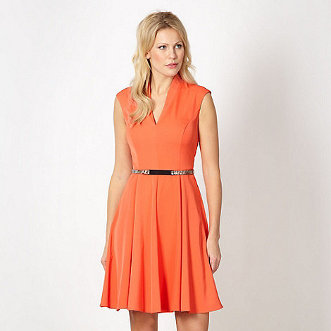 Star by Julien Macdonald - Designer orange textured belted skater dress