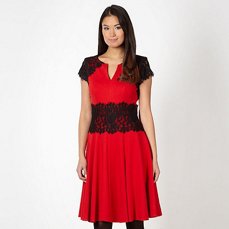Star by Julien Macdonald - Designer red lace shoulder flared dress