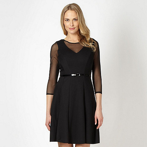 Star by Julien Macdonald - Designer black mesh textured skater dress