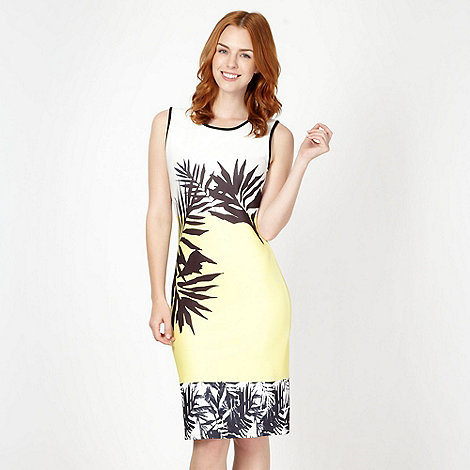 Star by Julien Macdonald - Designer yellow palm leaf print scuba dress
