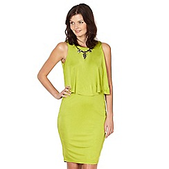 Star by Julien Macdonald - Designer lime necklace trim double layer jersey dress