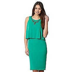 Star by Julien MacDonald - Designer green necklace trim double layer jersey dress