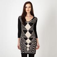 Designer black knitted graphic tunic