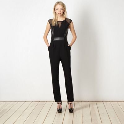 Diamond by Julien Macdonald Designer black faux leather panel jumpsuit - . -