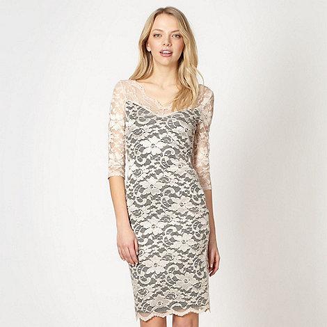 Diamond by Julien Macdonald - Designer pale pink lace bodycon dress