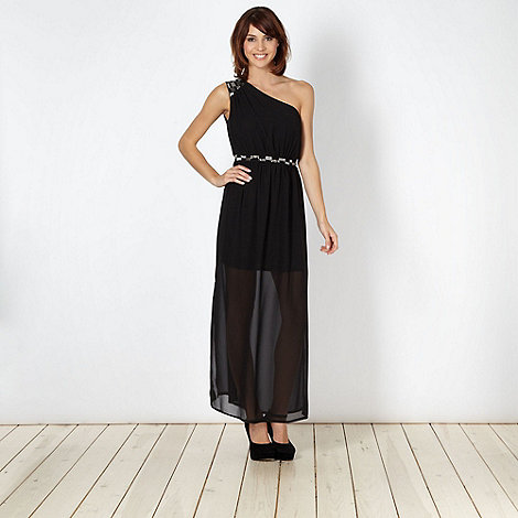 Diamond by Julien Macdonald - Designer black chiffon embellished maxi dress