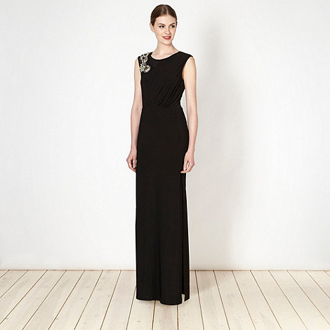Diamond by Julien Macdonald - Designer black embellished shoulder maxi dress